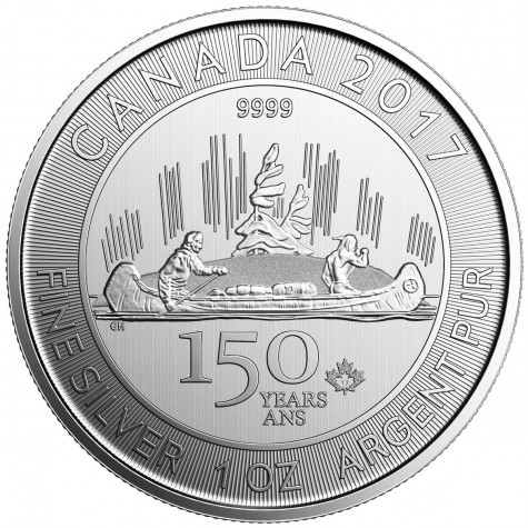 1 Ounce 2017 Silver Canada 150th Anniversary Voyageur