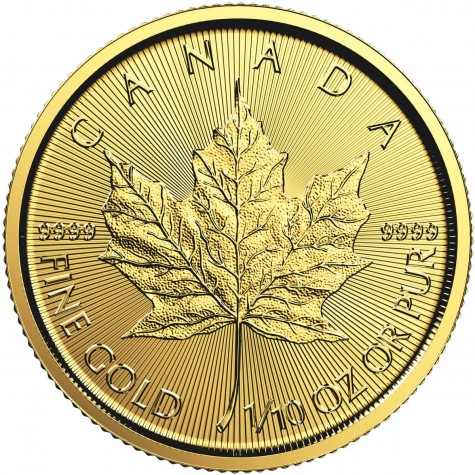 1/10 Ounce Gold Canadian Maple Leaf (Random Year)