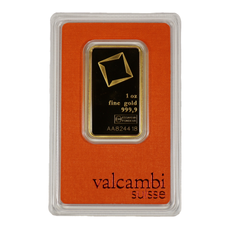 1 Ounce Gold Valcambi Bar w/ Assay